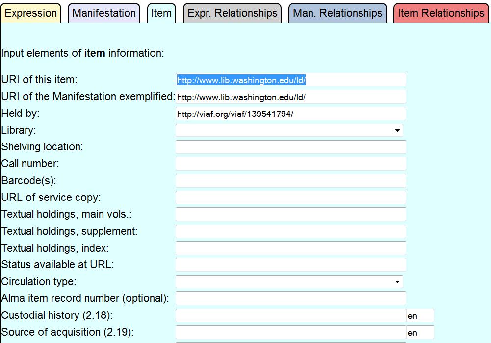 RDA Input Form - item