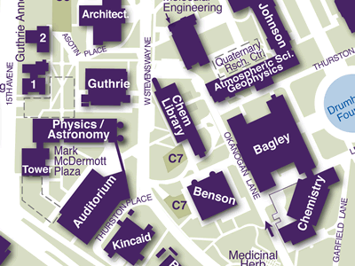 Physics-Astronomy on Seattle Campus Map