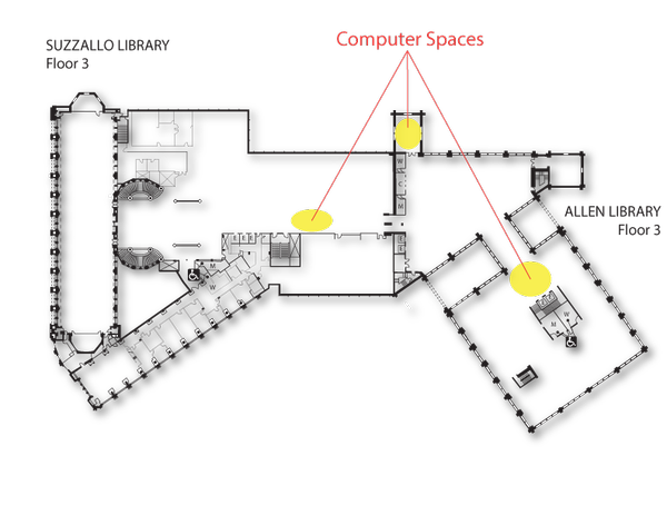Locations of computer spaces on Suzzallo-Allen floor 3