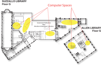 Locations of computer spaces on Suzzallo-allen ground floor.