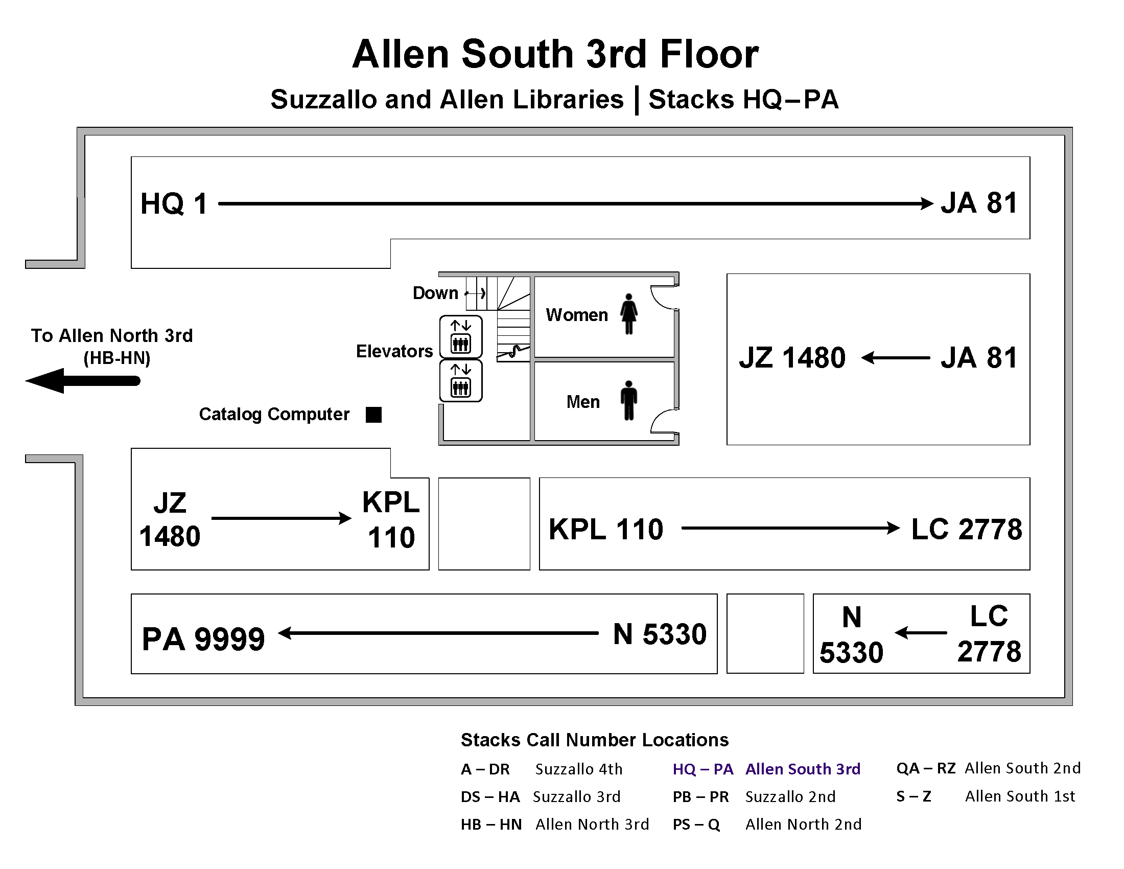 Call Number Map - Allen S 3rd