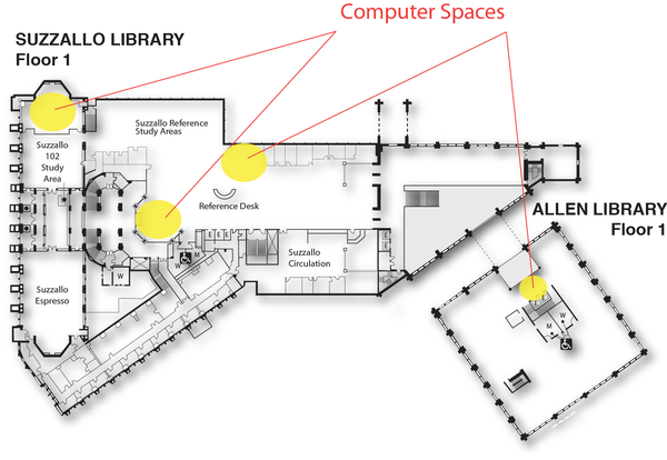 Locations of computer spaces on Suzzallo-Allen floor 1