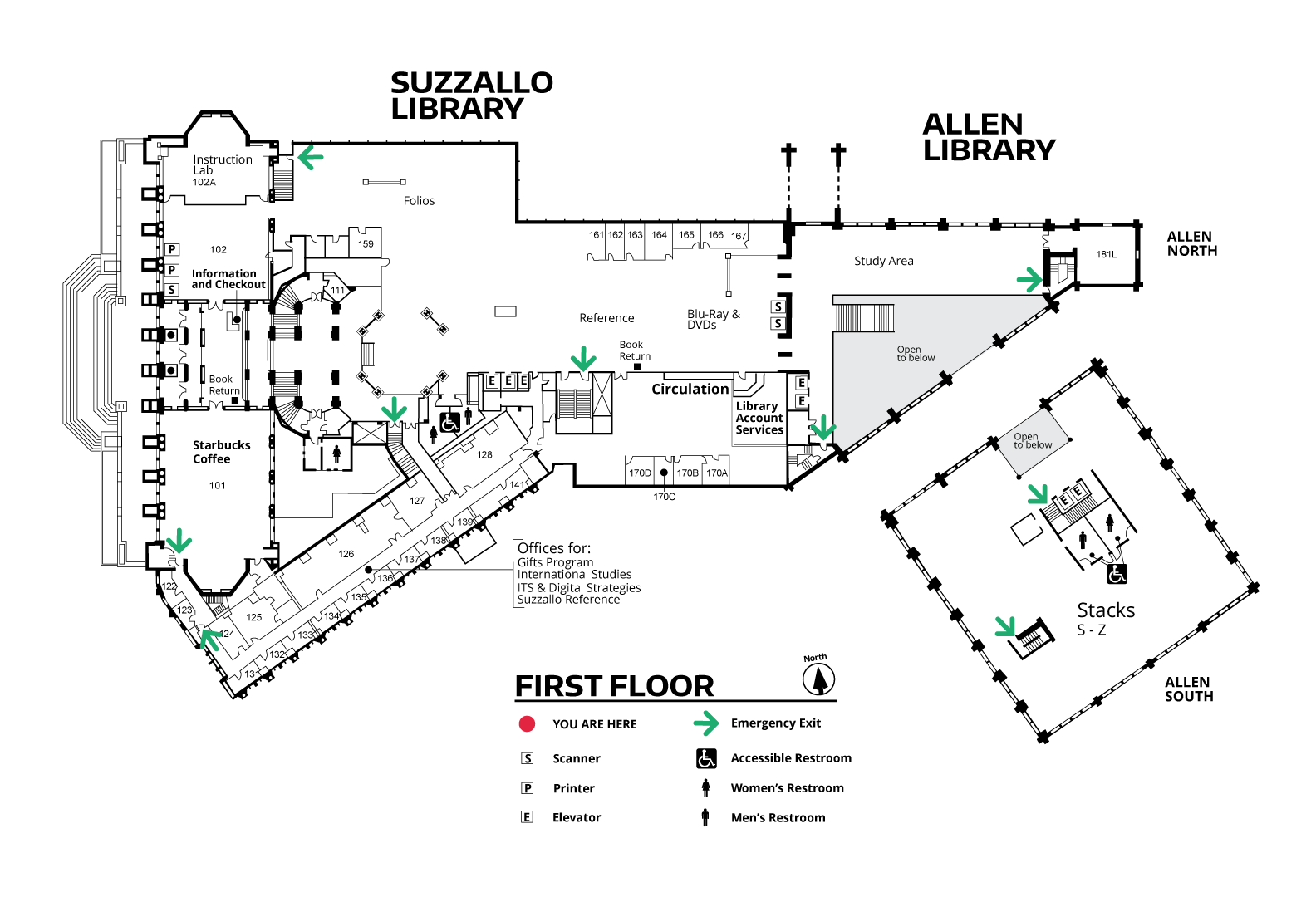 Suzzallo and Allen First Floor Map