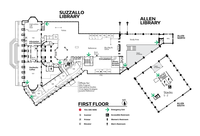 map of the first floor of Suzzall/Allen Libraries