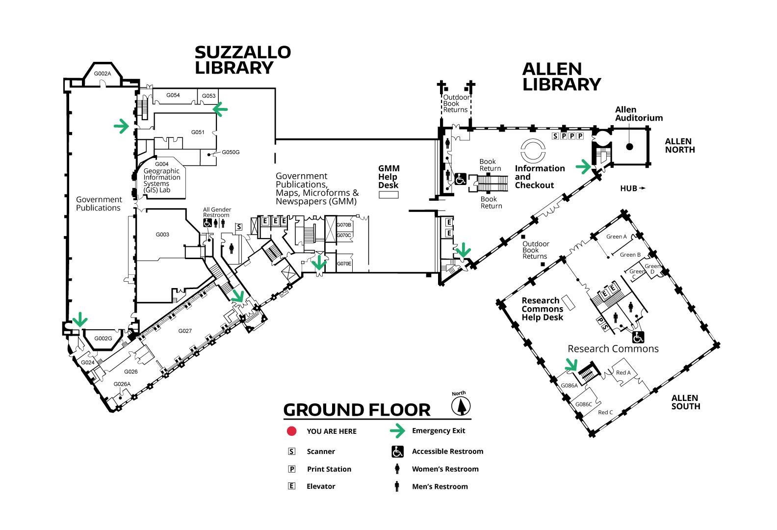 Suzzallo/Allen Ground Floor Map