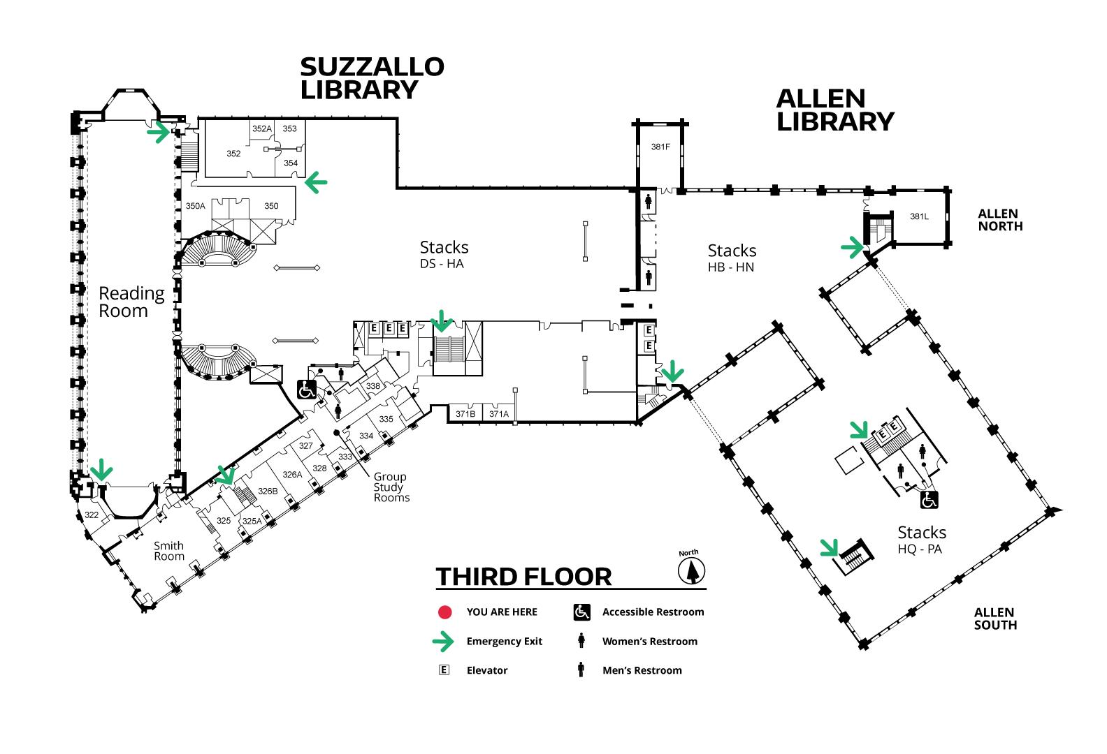 Suzzallo/Allen Third Floor Map