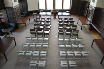 Smith Room Photo - Lecture Setup - from balcony