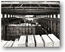 Interior of lumber shed