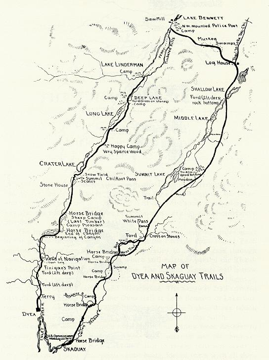 map of white and chilkoot pass trails